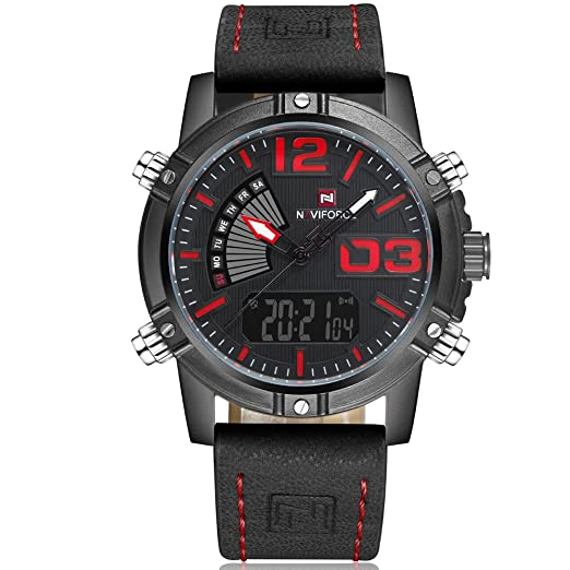 NAVIFORCE Mens Analog Digital Watch Leather Band LED Dual Time Military  Sport Wristwatch Black and Red ae86451ab1