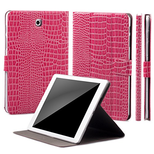- Samsung Galaxy Tab S2 9.7 Case | iCues 360° Rotating Stand | Crocodile Caiman Magenta | Manzano Cover | Other Leather - and Color Variations Available | Smart Wallet Flip Thin Ultra Slim