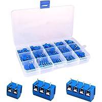 Greluma 100 piezas de 5 mm de paso,2 pines,3 pines y 4 pines,bloque de terminales de tornillo PCB 300V 16A,azul 85x2…