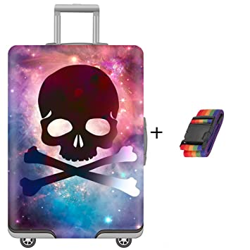 c378786d231b Washable Spandex Luggage Bag Cover Protector Fits 30/31/32 Suitcase Sleeve  Skull Print Design With Luggage Strap Belt Size XL