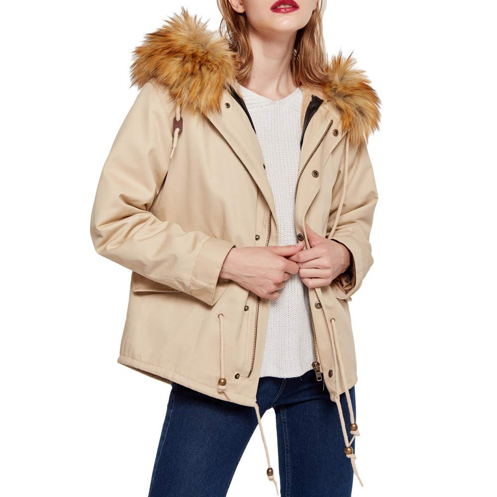Manteau d'Hiver Femme, Honestyi Pardessus Femmes d'hiver Molleton Chaud à Manches Longues Collier De Cheveux Court Court en Coton Chaud Costume à Capuchon à Capuche Zip Veste Outercoat De Poche