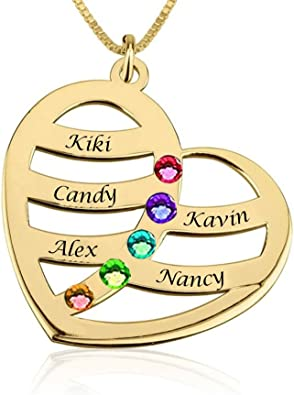 KIKISHOPQ Personalized Connection Custom 2 Names 2 Birth Stone Necklaces for Mothers Day 0 0
