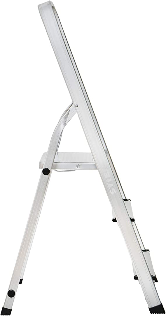 Klappleiter aus Aluminium Haushaltsleiter belastbar bis 150 kg Trittleiter einseitig begehbar STIER Stehleiter mit Plattform 6 Stufen