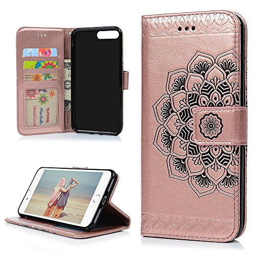 for iPhone 7 Plus Case, iPhone 8 Plus Case, 3D Relief Embossed Mandala Floral Pattern PU Leather Soft TPU Inner Card ID Holder Wrist Strap Stand Magnetic Folio Flip Wallet Cover by YOKIRIN, Gold