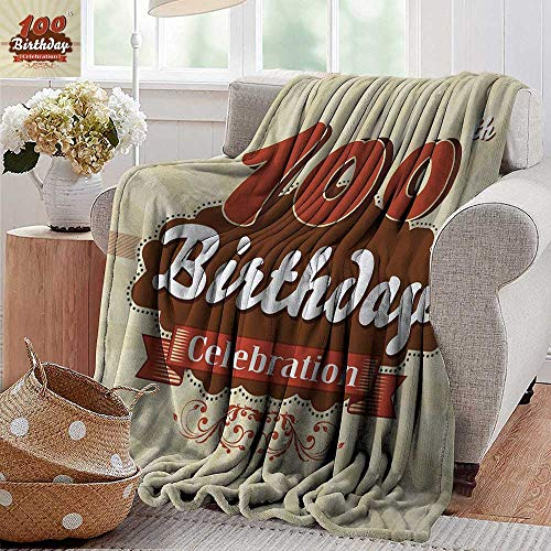 XavieraDoherty Flannel Blanket,100th Birthday,Chocolate Wrap Like Brown Party Invitation Hundred Years Celebration,Cinnamon and Cream,Extra Cozy, Machine Washable, Comfortable Home Decor 30