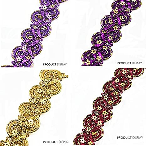 Beaded Sequin Fabric Paillette Braided Applique Decorated Lace Ribbon Trim Sewing Supplies for Craft Accessories 20yd (Purple) Resources House