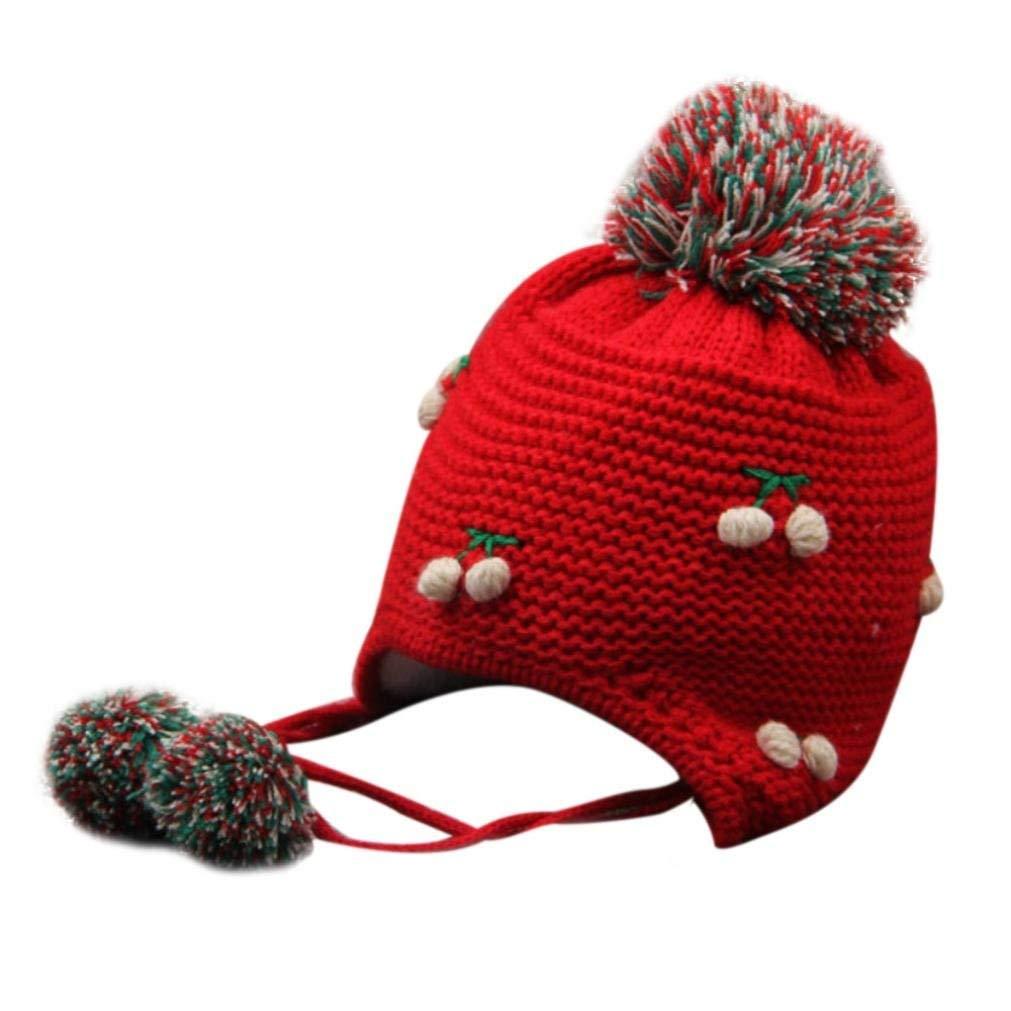 Staron Baby Knit Hats Earflap Toddlers Children Girl Boy Warm Hairball Cap Hat