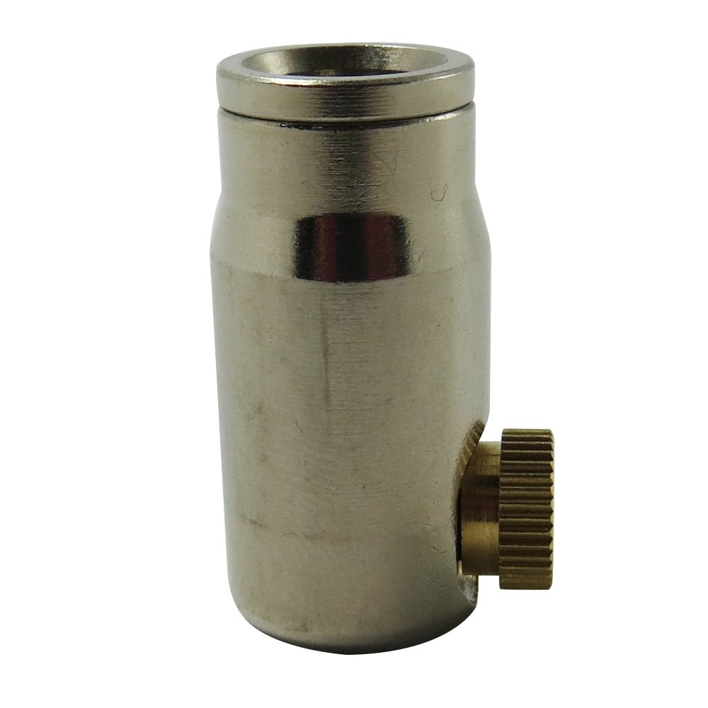 Legines Nickel Plated Brass Push to connect Single (One Holes) Misting End Cap 3/8'' OD X 3/8'' OD with 3/16 Misting Nozzle (5 sets) (3/8'' Tube OD & 0.15mm)