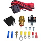 FAERSI 185-200 Degree Electric Cooling Fan Thermostat Kit Temperature Sensor Temperature Switch 50 60 AMP Relay Kit