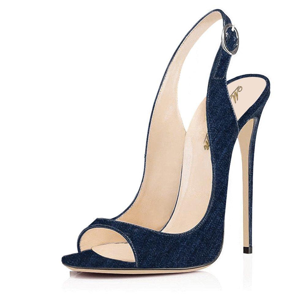 Modemoven Women's Patent Leather Pumps,Peep Toe Heels,Slingback Sandals,Evening Shoes,Cute Stilettos B0733KLSQT 10 B(M) US|Dark Blue Denim