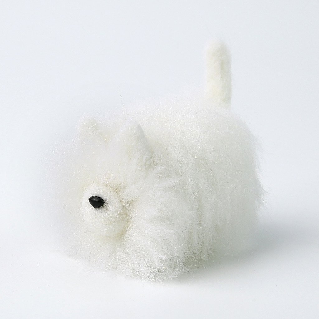 White Pomeranian DIY Needle Felting Kit with Gift Box Faceless Dog Truslin
