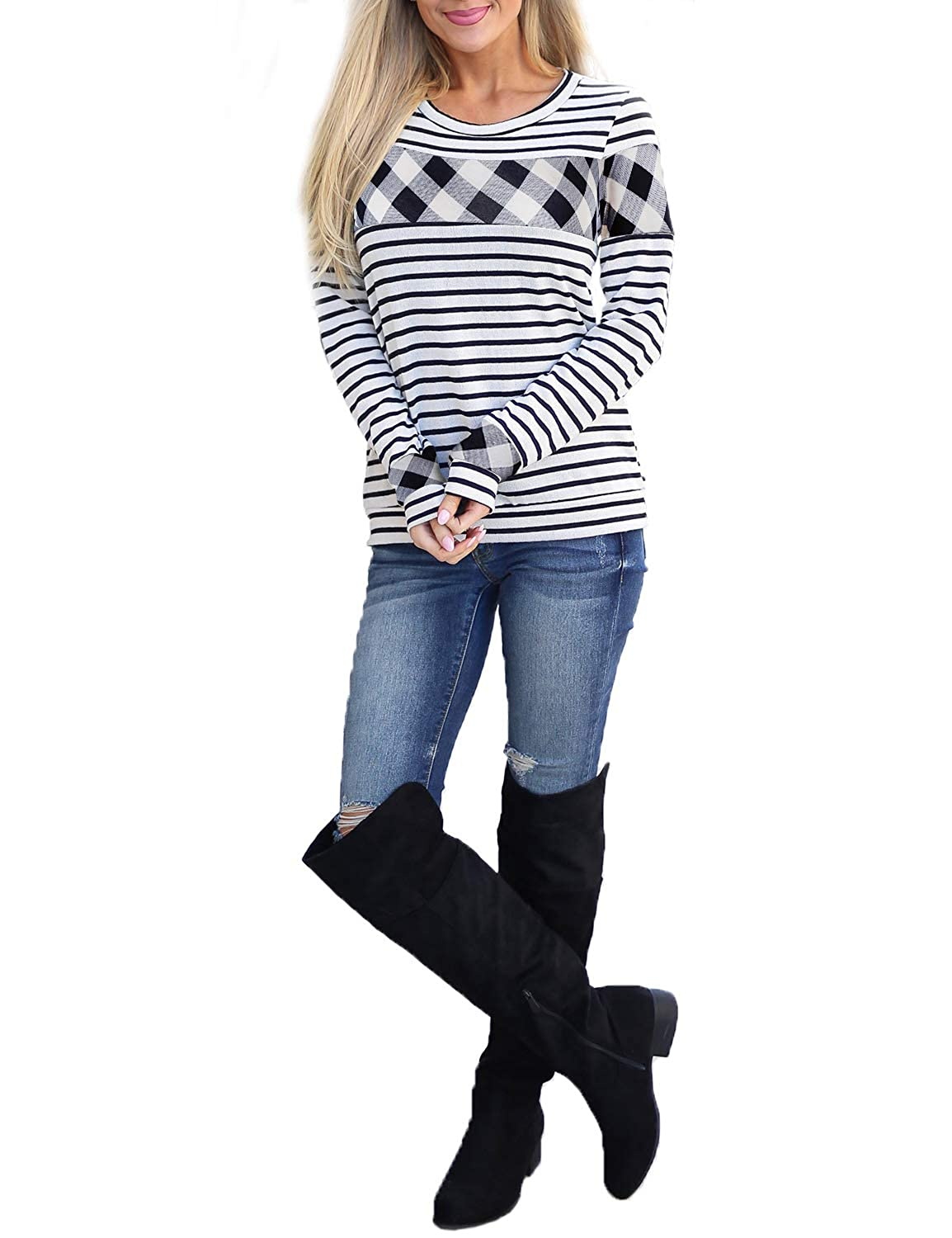 Blooming Jelly Women's Casual Long Sleeve Shirt Plaid Striped Round Neck Top Tee