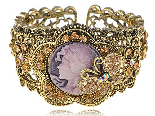 Alilang Womens Antique Golden Tone Topaz Colored Rhinestones Vintage Cameo Lady Bangle Bracelet