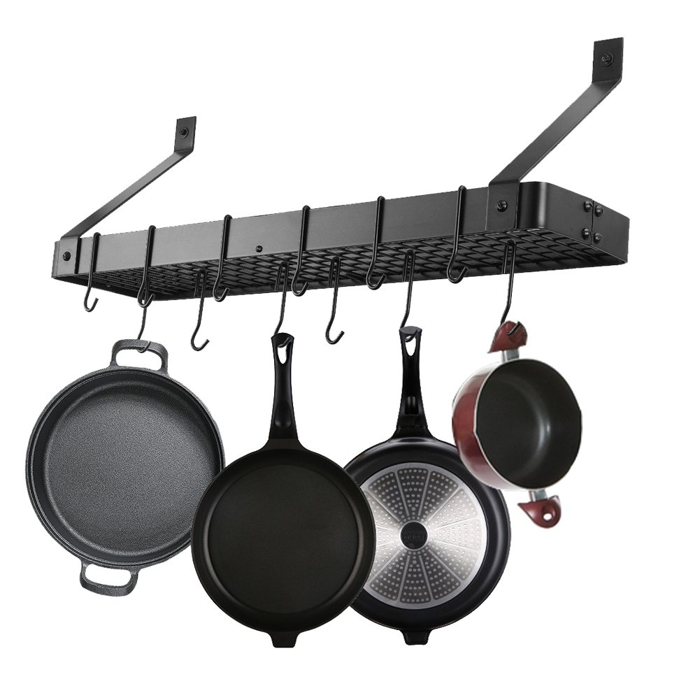 Yontree Kitchen Organizer Hanging Iron Pot Rack Ceiling Rack Style A