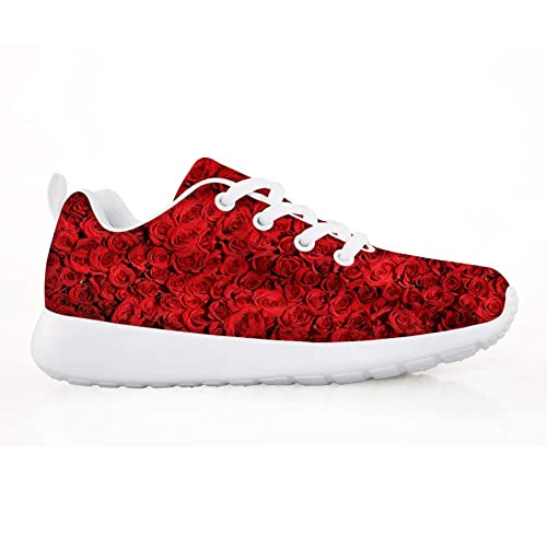Owaheson Red Boy's Casual Up Sneakers Running Lace Girl's Fire Shoes uZkwPOXilT