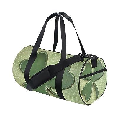 POUKE Canvas Duffel Bag Adjustable Strap Unisex Travel Luggage Gear Shamrock