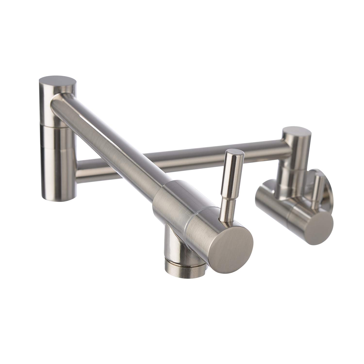 Neady Pot Filler Faucet Wall Mount Folding Stretchable Double Joint Swing Arm Kitchen Sink Faucet Stainless Steel Two Handle Wall Mount Faucet, Brushed Nickel by Neady