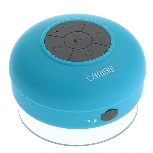 150 opinioni per MEMTEQ® Bluetooth Cassa Altoparlante Speaker Azzurro a Ventosa Impermeabile X