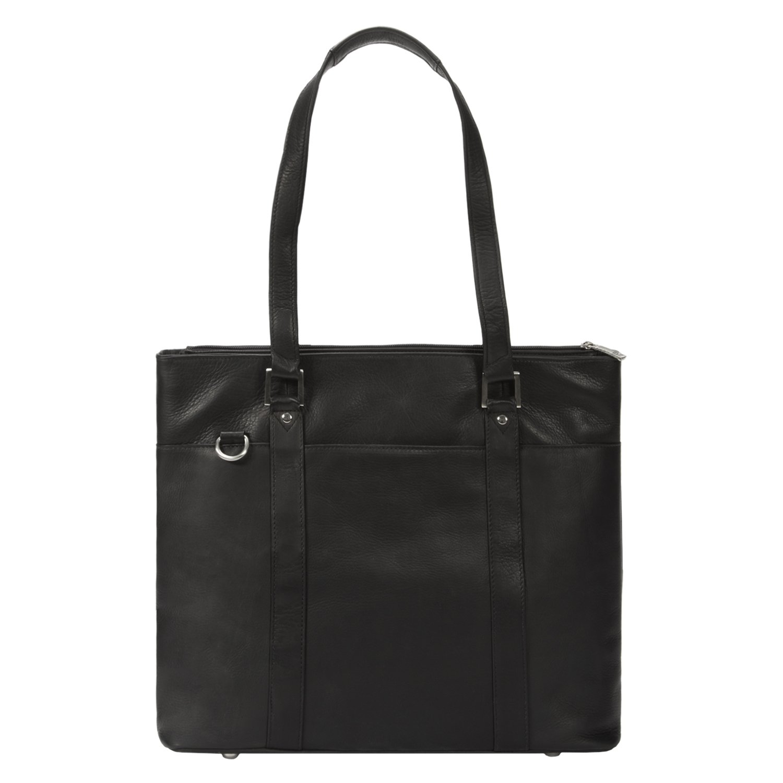 Muiska Leather [Custom Initials Engraving] Womens 15.4'' Laptop Fashion Business Organizer Top Handle Zipper Shoulder Handbag Tote Purse Bag, Black by Muiska