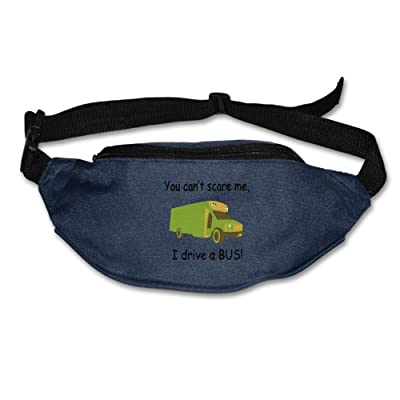 Janeither Unisex Pockets You Can't Scare Me, I Drive A Bus Fanny Pack Waist/Bum Bag Adjustable Belt Bags Running Cycling Fishing Sport Waist Bags Black