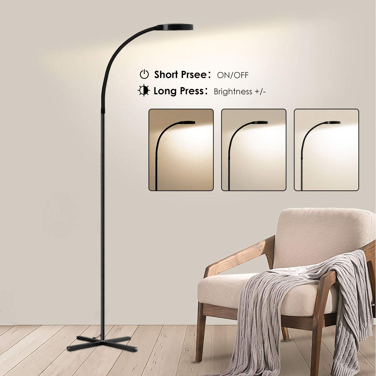 Joly Joy Reading Floor Lamp, Dimmable Flexible Gooseneck LED Floor Lamps for Living Room, Touch Control Standing Lamps for Room, Bedroom, Office, Task (4000K)
