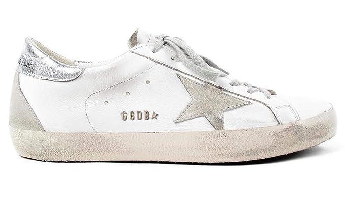 Amazon.com  Golden Goose Men s Sneakers Superstar WHITE SILVER METAL ... 92c480432