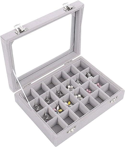 Caja organizadora Ivosmart con 24 secciones de terciopelo y tapa de vidrio para guardar joyas, con exhibidor de anillos o bandeja para aretes., cartón, Gris, 24 Section (Grey): Amazon.es: Juguetes y juegos