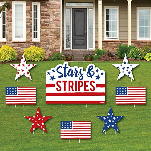 (Stars & Stripes - Yard Sign & Outdoor Lawn Decorations - 4th of July USA Patriotic Independence Day Party Yard Signs - Set of 8)