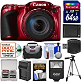 Canon PowerShot SX420 IS Wi-Fi Digital Camera (Red) with 64GB Card + Case + Flash + Battery + Charger + Tripod + Kit