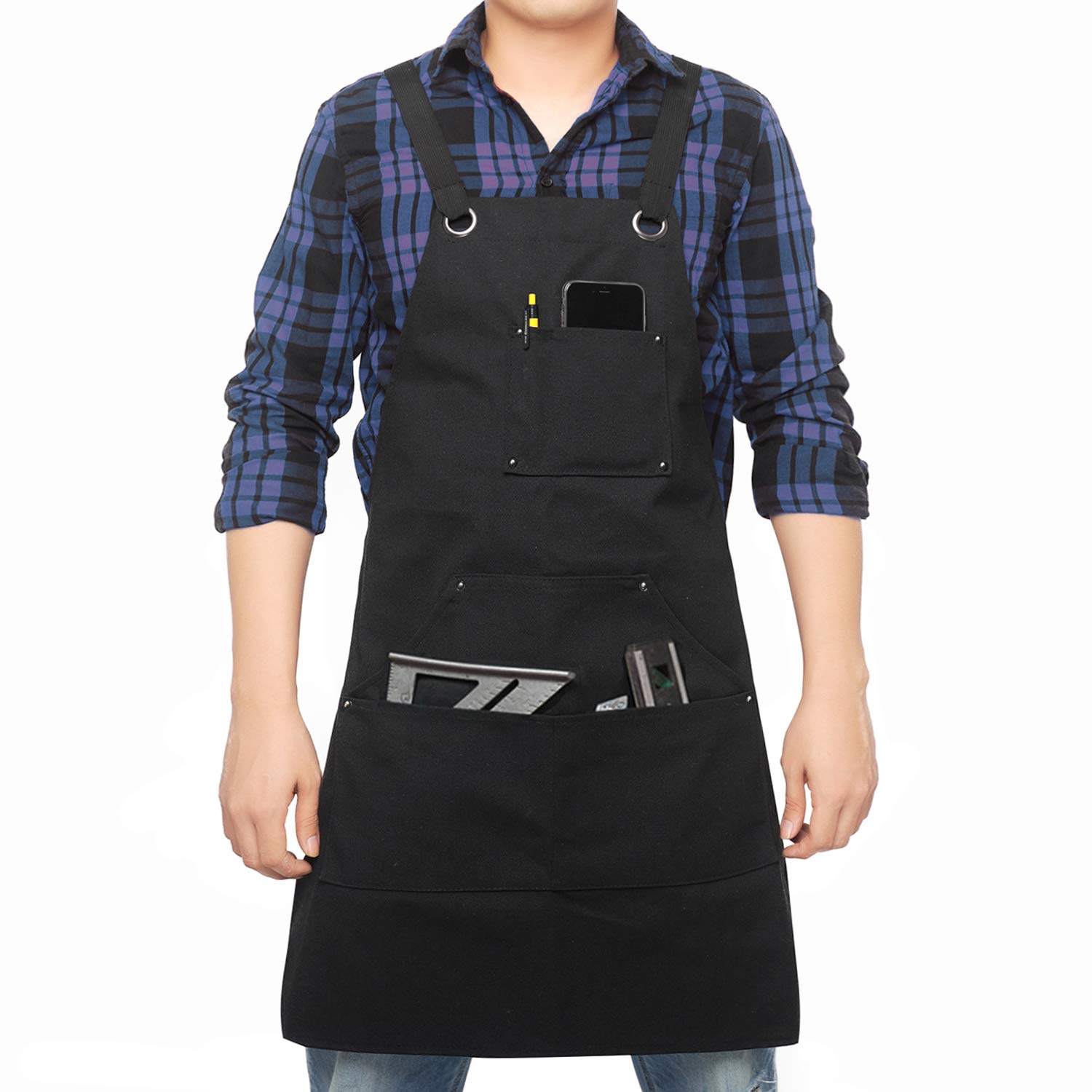 Tool Apron with Pockets Adjustable Heavy Duty Waxed Canvas Shop Apron Work Apron Fits Men and Women,M-XXL