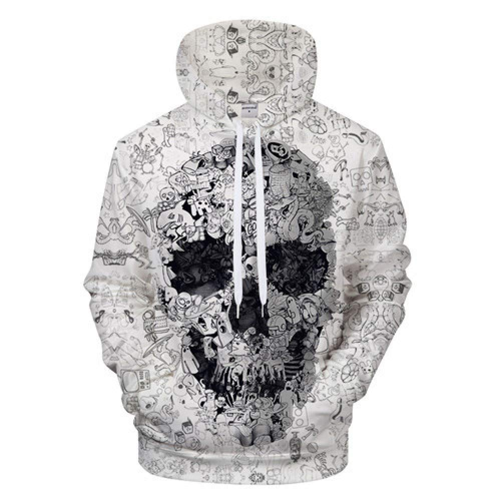 Amazon.com: XW LIU 3D Printed Pullover, Drawstring Hooded Long Sleeve Loose Unisex Hoodies Sweatshirt,White-M: Home & Kitchen