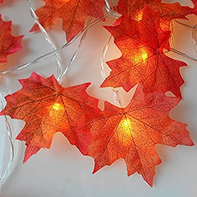 sexyrobot 9.8 Feet Fall Maple Leaf Garland, Battery Powered Lighted Maple Garland with 30 Lights, Orange Red Leaves