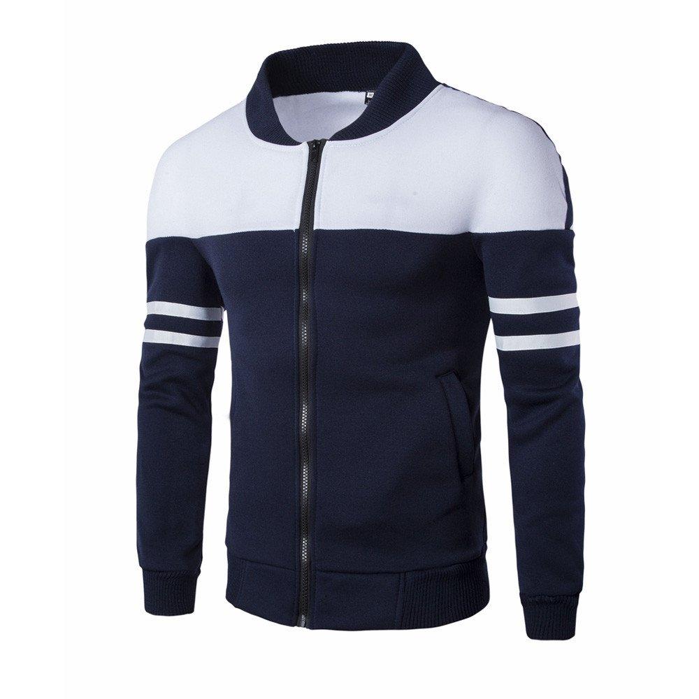 Lonshell Zipper Jumper Patchwork Slim T-Shirt Striped Pullover Tops Jacket Fit Overcoat Lonshell/_Mens Sweatshirt Mens Jacket Outwear