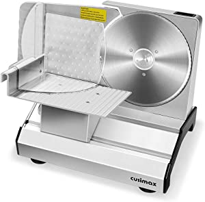 "CUSIMAX Meat Slicer, Electric Deli Food Slicer with 7.5"" Removable Stainless Steel Blade, Adjustable Thickness, Food Carriage and Pusher, Non-Slip Feet, Powerful 200W Cutter for Meat, Bread, Cheese"