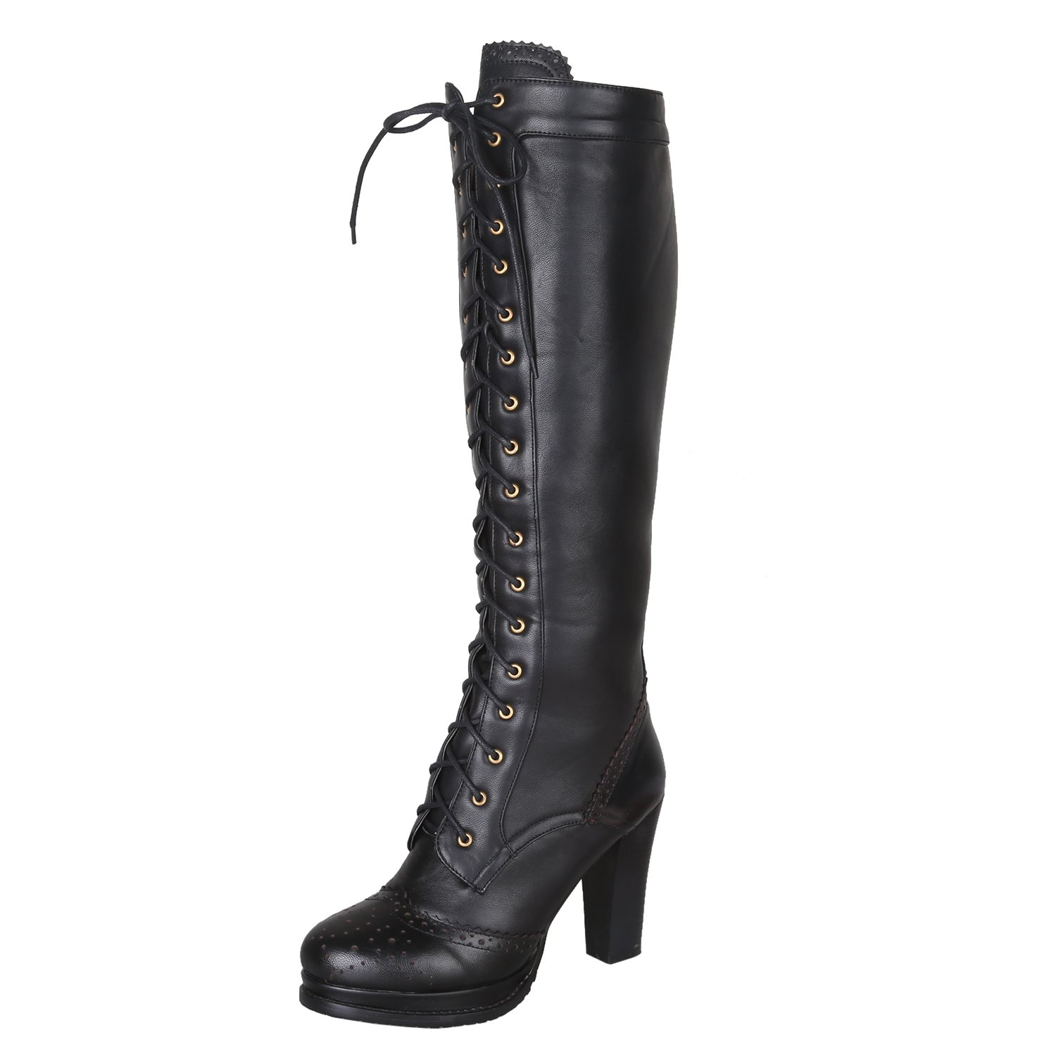 Women's Knee-High Lace-Up Thick Sole Soft Black Genuine Sheepskin Leather Boots - DeluxeAdultCostumes.com