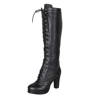 c17dc6bd6c0 Amazon.com | Women's Retro Sheepskin + PU Leather Lace Up Block Heel ...
