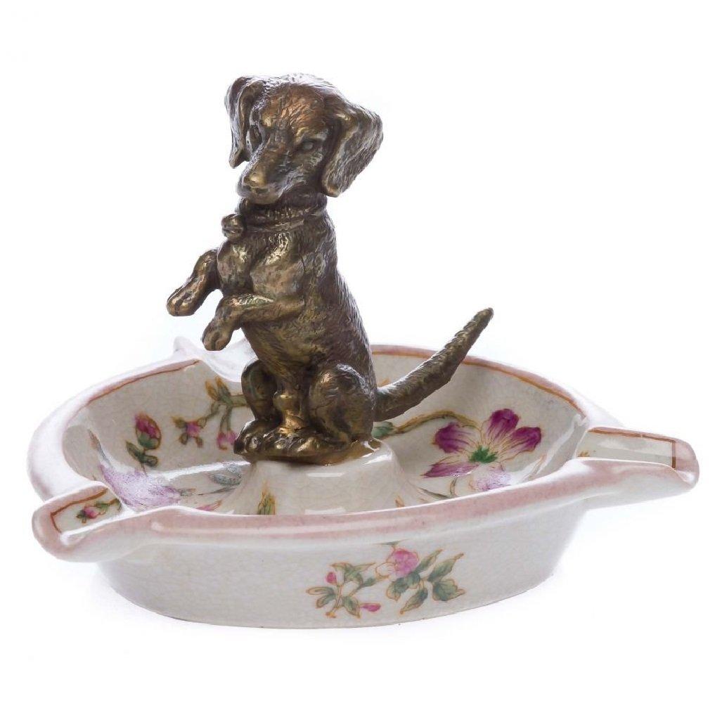 Porzellan Aschenbecher Hund Dackel Verzierungen antik Stil porcelain ashtry