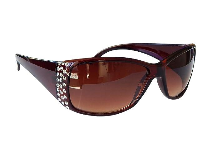 Damenbrille Sonnenbrille mit Strass Brille Damen Sunglasses M 38 (Schwarz) 8wV5T35