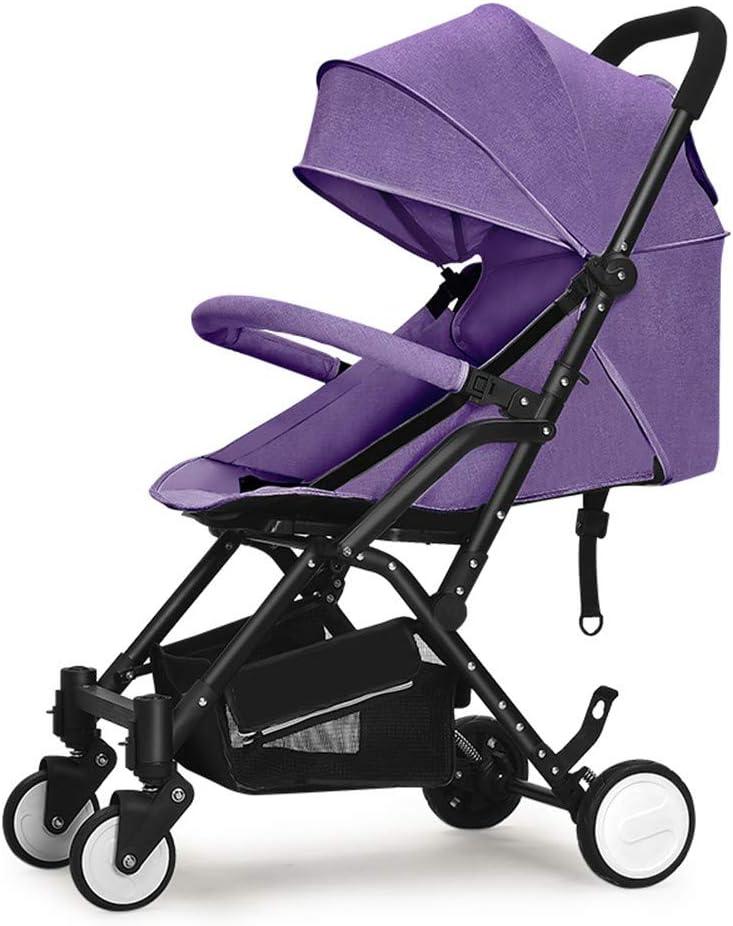 REMTI Sillas de paseo Ultraligero Portacontenedores para bebés de gran altura Fácilmente accesible Aviones accesibles Mentira Plegable Cochecito de bebé, violeta