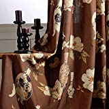 2 Panel Brown Curtains Elegant Flower Drapes - Anady Top Art Design Curtains Linen Cotton Drapes for Living Room Grommet 100 inch Length(Customized Available)