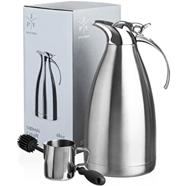 Stainless Steel Coffee Carafe - Insulated Thermal Carafe - 68 oz Thermos Pot for Coffee Tea or Hot Water - Insulated Double Walled Vacuum Dispenser with Free Bottle Brush & Milk Pitcher [3 Piece Set]