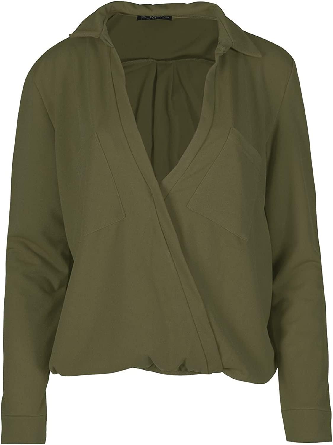 Womens Tops Ladies Long Sleeve Front Wrap Over Baggy Front Pockets Collared Top