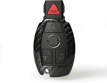 Carbon fiber leather Genuine Premium Leather Key Fob Cover For Mercedes Benz