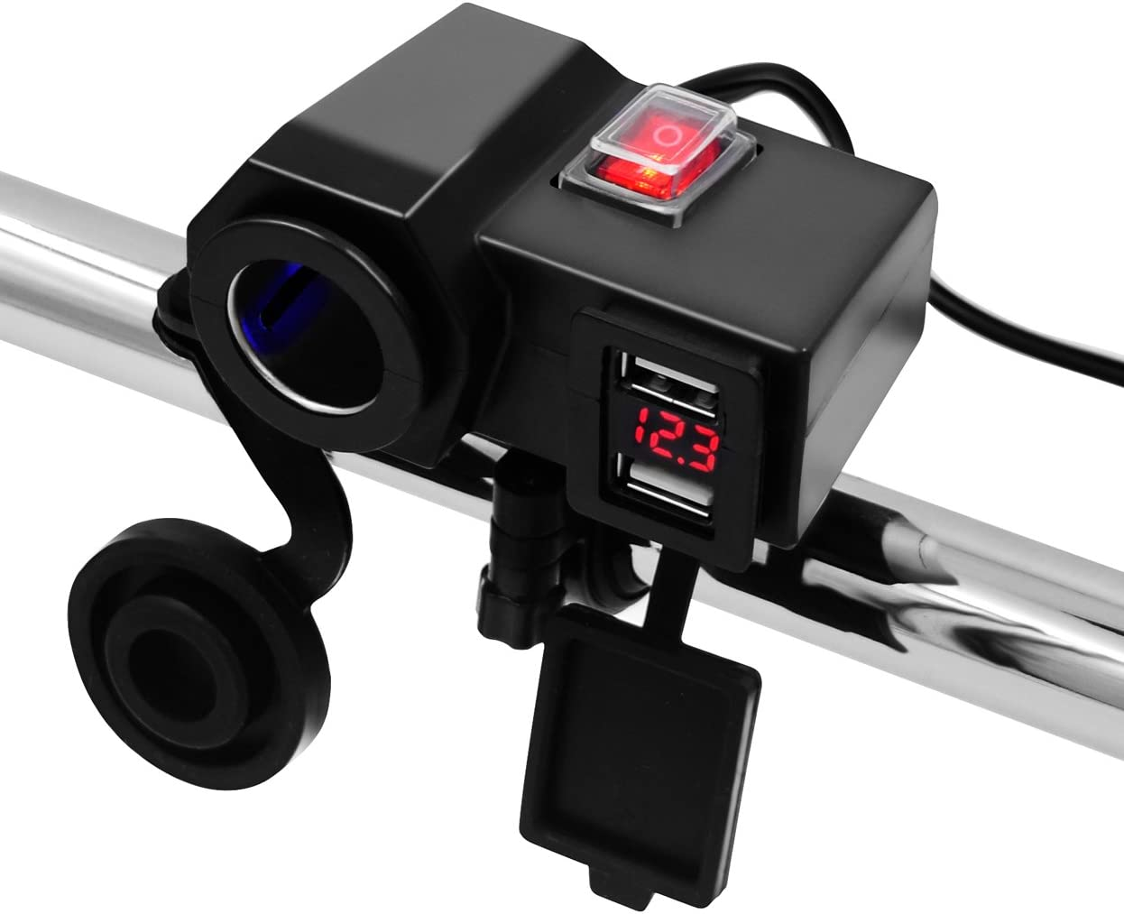 1x Dual USB Motorcycle Handlebar Mirror Bracket 3.1A Charger with Waterproof Cap