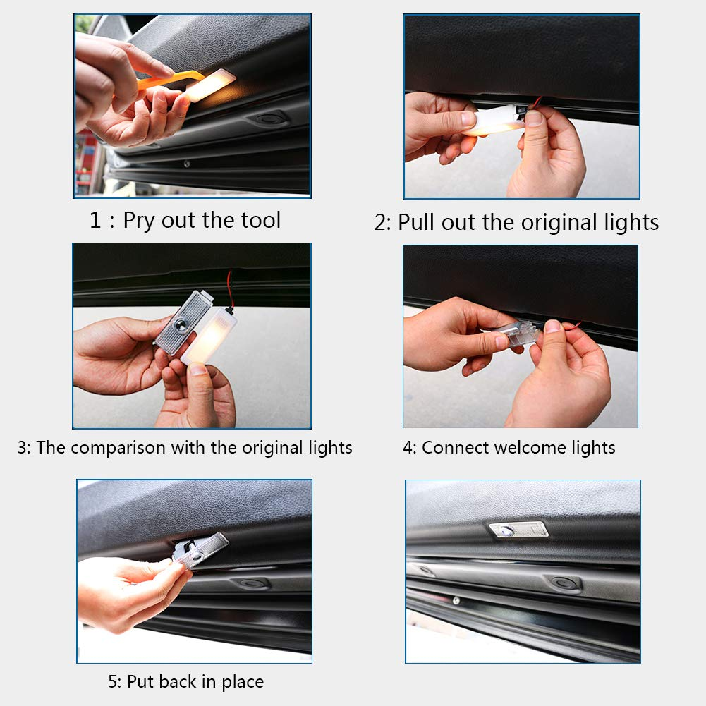 WENP Luce di benvenuto per auto a LED Proiezione logo auto Facile da installare 2 pezzi-05