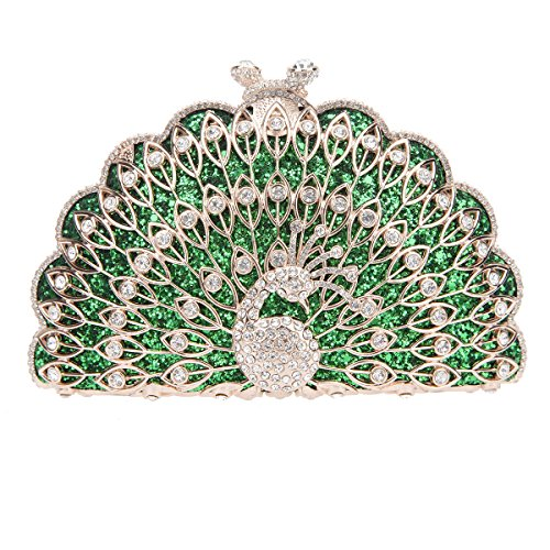 Fawziya Peacock Purse Evening Bag Metallic Animal Shape Clutch Cute Clutches-Green