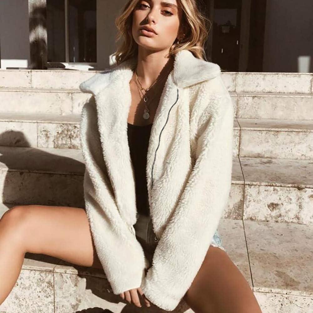 Yuiopmo Moda Capispalla Parka Invernale da Donna in Caldo Cerniera Cappotto di Lana Artificiale Casuale Corto Manica Lunga Maglione Felpa Caldo Giacca