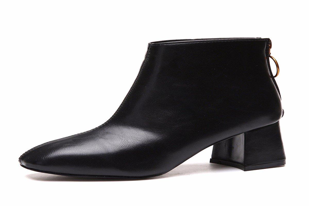 HBDLH Damenschuhe Dick und Kurze Stiefel Platz 6 cm High Heels Samt Martin Stiefel Reißverschluss - Stiefel in Herbst und Winter