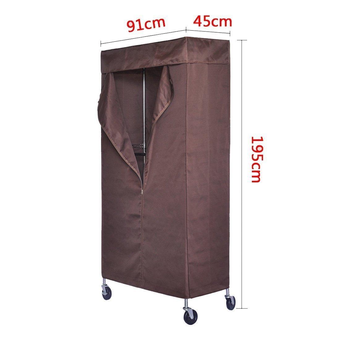 HLC Perchero con 2 estantes con 4 Ruedas 195 cm Resistente al Polvo,Cromado