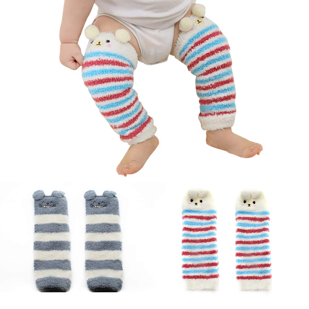 Baby Boy Girls Soft Fuzzy Leg Warmer Toddler Kids Cute Knee Pad Boot Sock 2 Pack